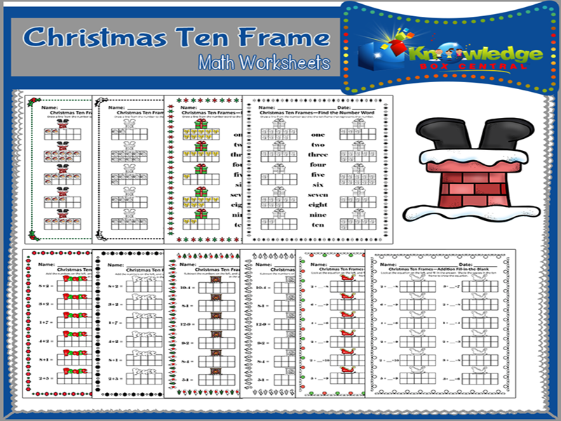Christmas Ten Frame Math Worksheets