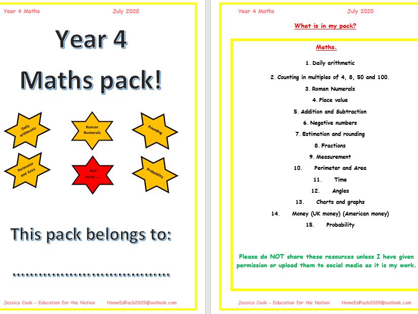 Year 4 Maths pack