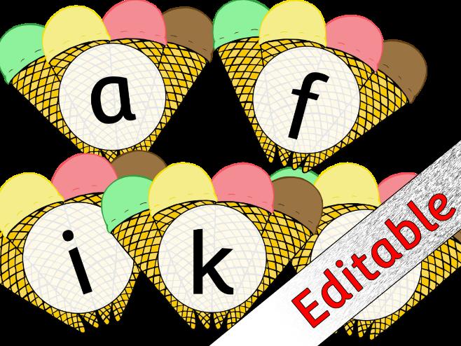 Ice Cream Alphabet Posters/Flashcards/Display - Editable