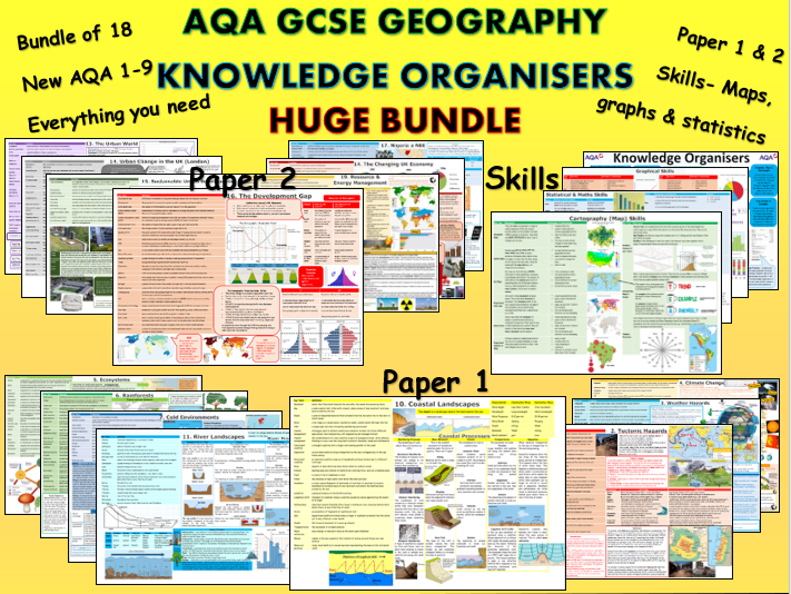 18 Knowledge Organisers  AQA 1-9 GCSE Geography All Topics for Secondary BUNDLE