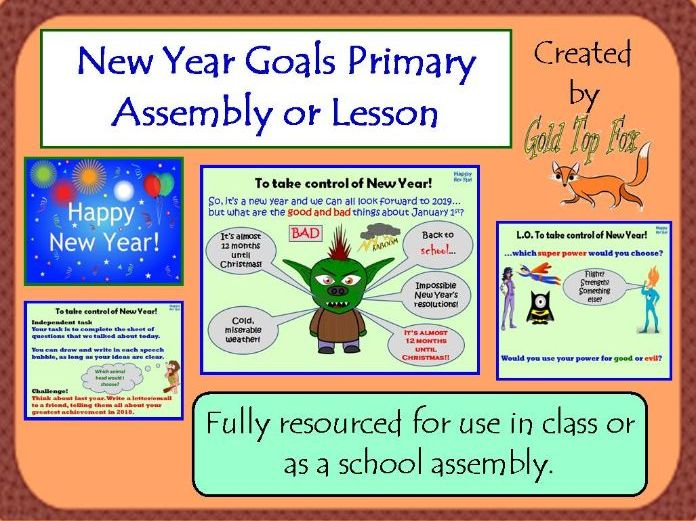 New Year Goals Assembly or Lesson for Primary School (2021)