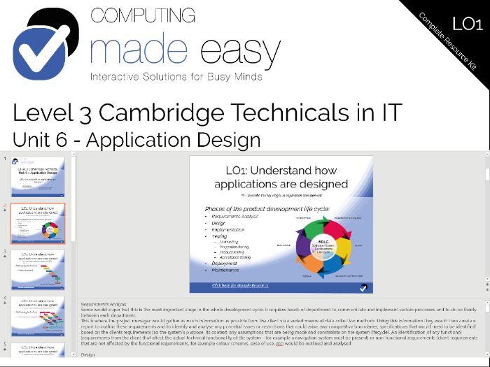 Cambridge Technicals IT Level 3 - Unit 6 LO1 Teacher Slides and Report Templates