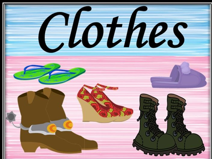 Clothes. Types of shoes. Powerpoint game.