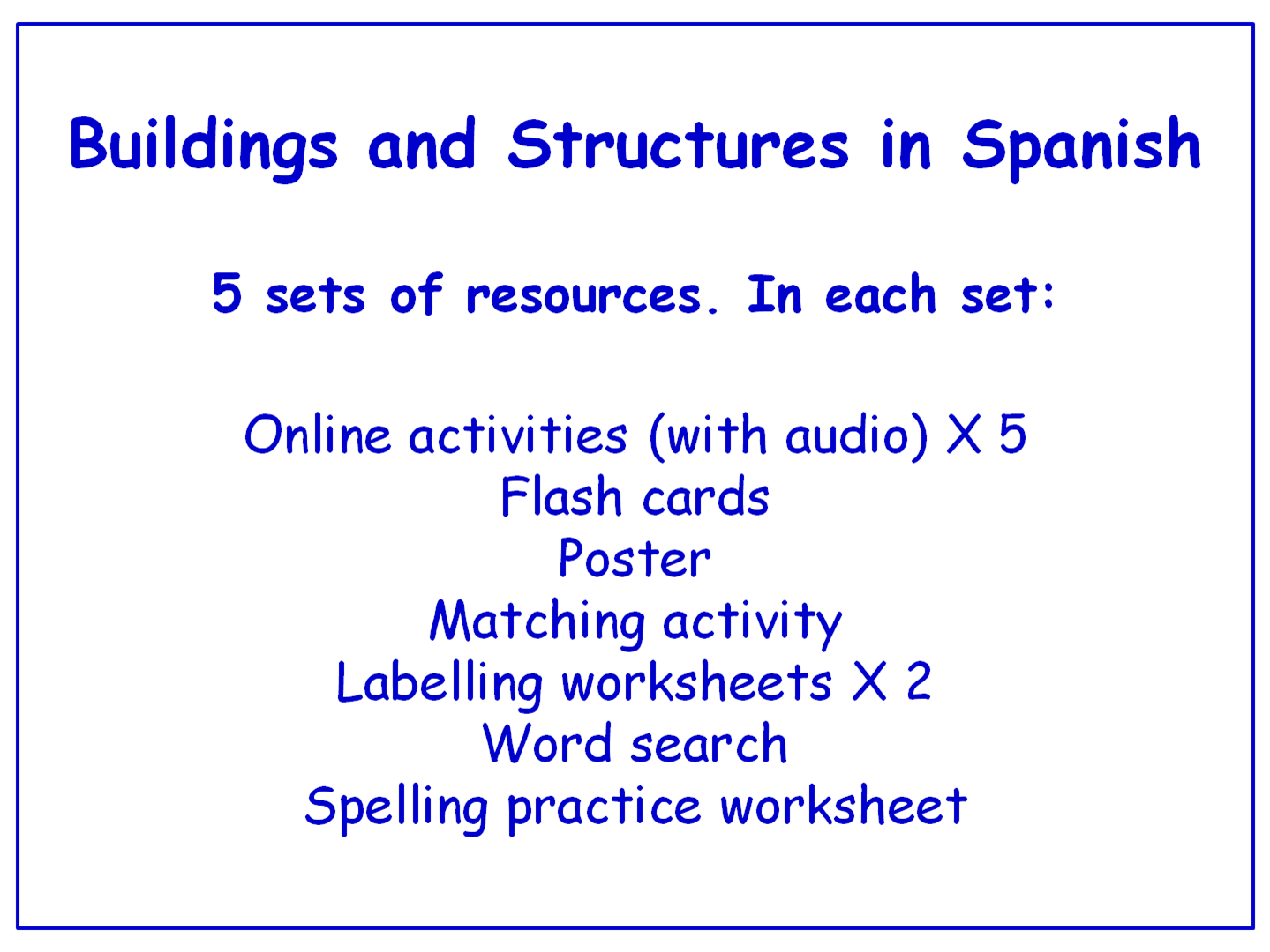 Buildings and Structures in Spanish  Worksheets, Games, Activities and Flash Cards (with audio) Bundle (5 sets)