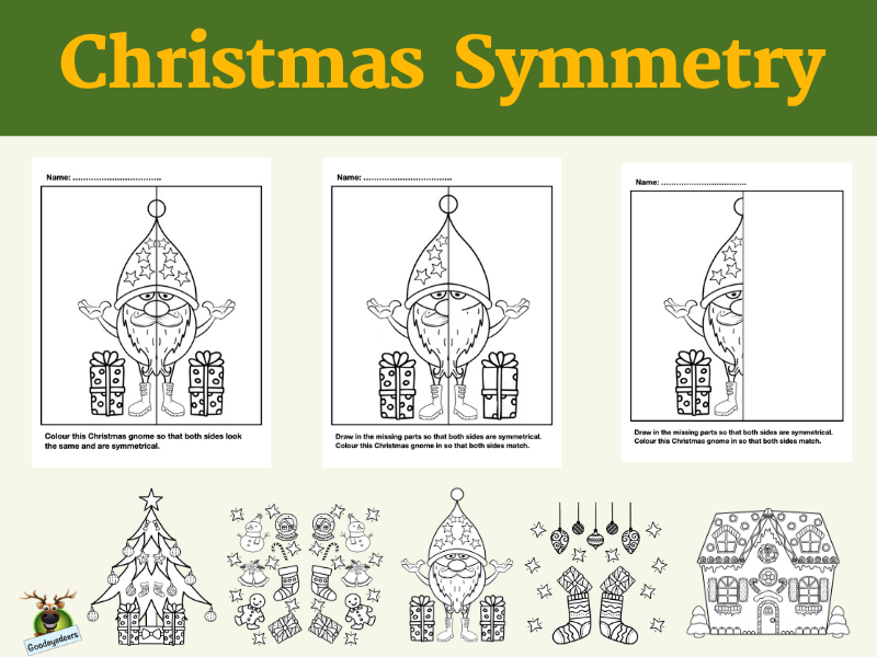 Christmas Lines of Symmetry - Fun Maths Activity
