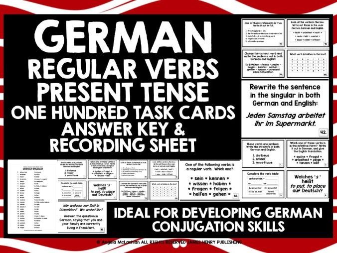 GERMAN CHALLENGE CARDS REGULAR VERBS PRESENT TENSE