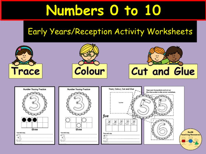 Number Tracing Colour Cut and Glue/Paste 0 to 10 Activity Worksheets Tens Frame