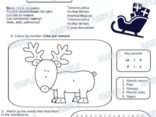 Spanish Primary School Worksheet & MP3 Music File - Christmas Theme (Reindeer, Reindeer))