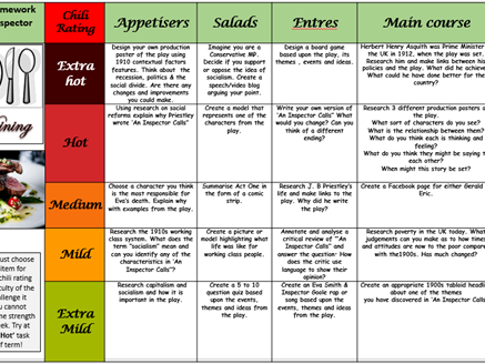 An Inspector Calls KS3 Takeaway Homework Menu