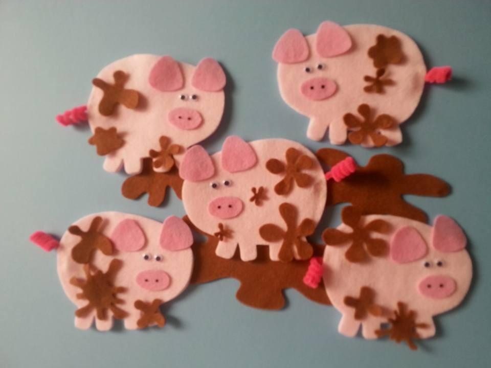 Five Little Muddy Pigs Felt Board Pattern PDF