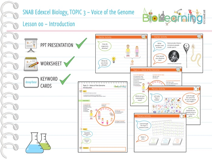 SNAB Biology Topic 3 -  Lesson 00 (Introduction) - WS, PPT and Keyword cards