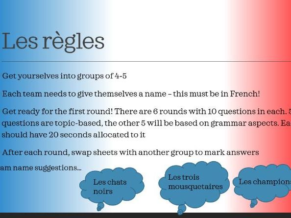 GCSE French End of Year Quiz