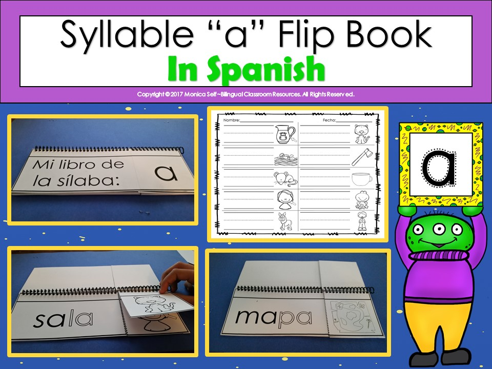 "Syllable ""a"" Flip Book In Spanish"