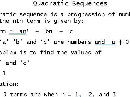 Quadratic Sequence nth Term GCSE (9-1)
