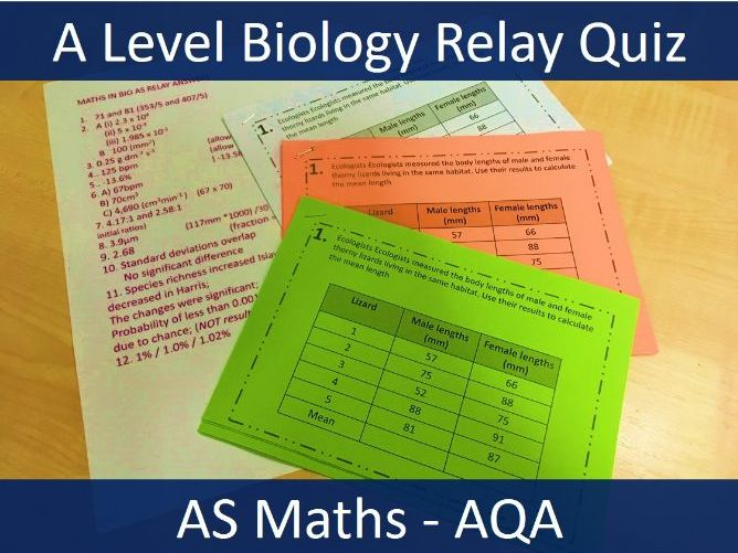 A-Level Biology - Maths Skills Revision Relay Quiz