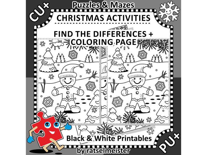 Christmas Activities: Find the Differences and Colouring Page with Ginger Man