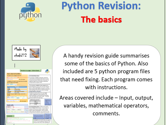 Python revision and activities - The basics