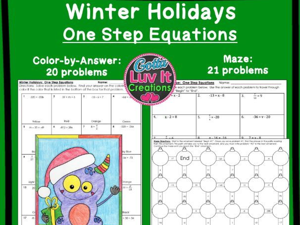 One Step Equations With Negatives Winter Bundle - Maze & Color by Number
