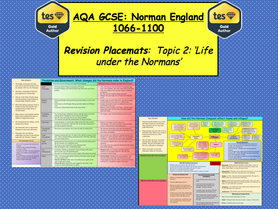 AQA GCSE: Norman England 1066 – 1100 Revision Placemats (Topic 2)