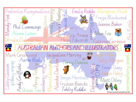 A3 Posters 43 Australian Authors & Illustrators Vic Mod Cursive Wordle Type