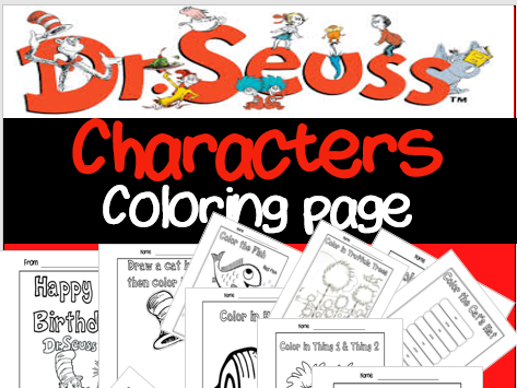 Dr. Seuss Inspired Coloring Pages