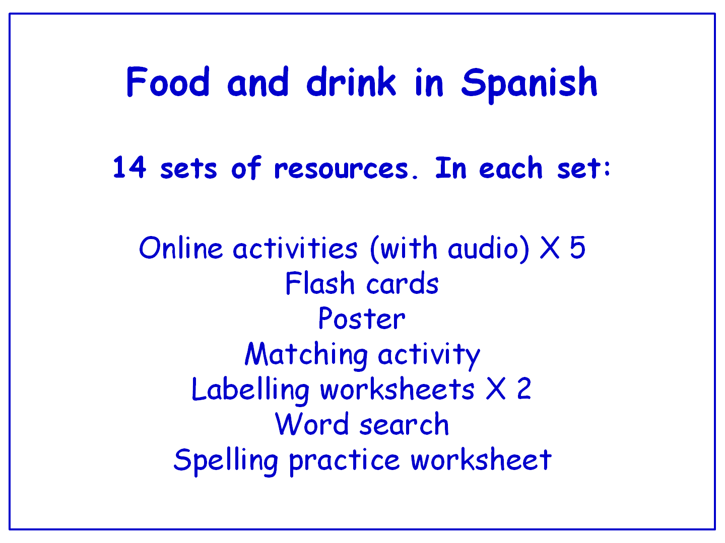 Workbooks spanish food worksheets : Food in Spanish Worksheets, Games, Activities and Flash Cards ...
