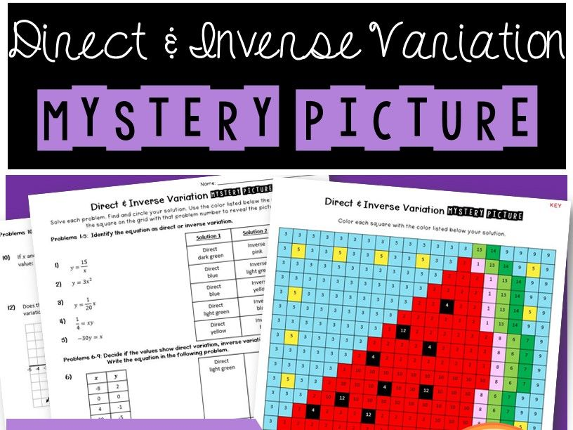 Direct & Inverse Variation Mystery Picture Coloring Worksheet