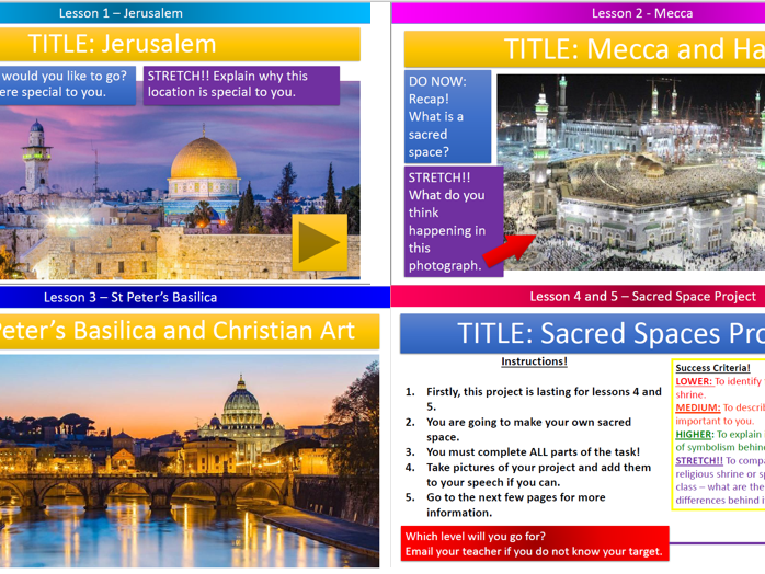 KS3 - HOME LEARNING 5 WEEKS of Lessons! - Sacred Spaces Project