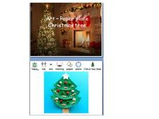 Winter holiday (Christmas) paper plate Christmas tree - Step by step - widgit symbolised