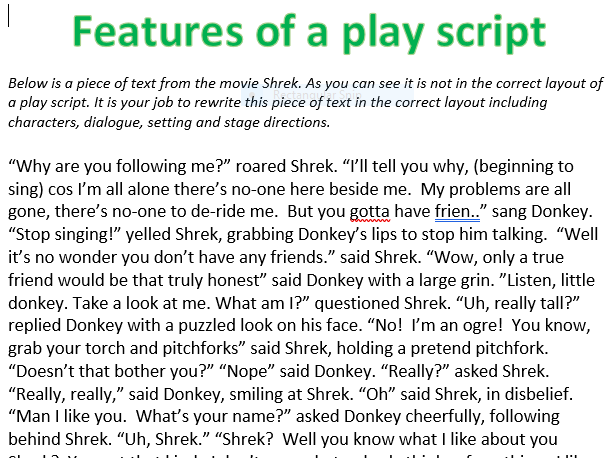 Play-scripts worksheets