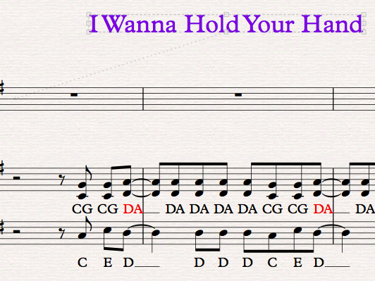 Easy Sibelius arrangement of The Beatles song, I Wanna Hold your hand