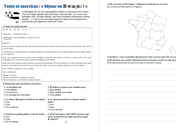"Text and exercises: ""Visit in Brittany"" (Séjour en Bretagne) (French B1-B2)"
