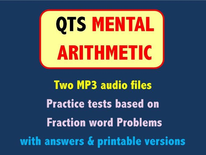 QTS Mental Arithmetic Tests - Fraction Problems