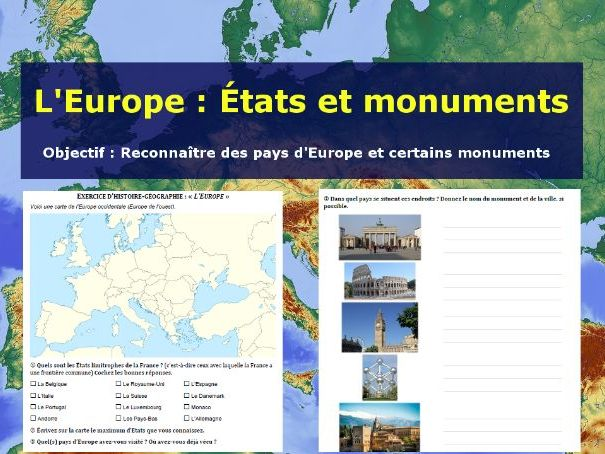 Carte de l'Europe : identifie les pays et les monuments (Europe map & monuments)