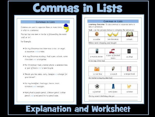 Commas in Lists Worksheet