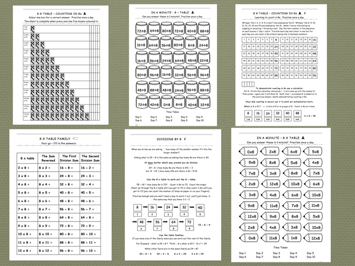 Eight Times Table - Comprehensive Workbook