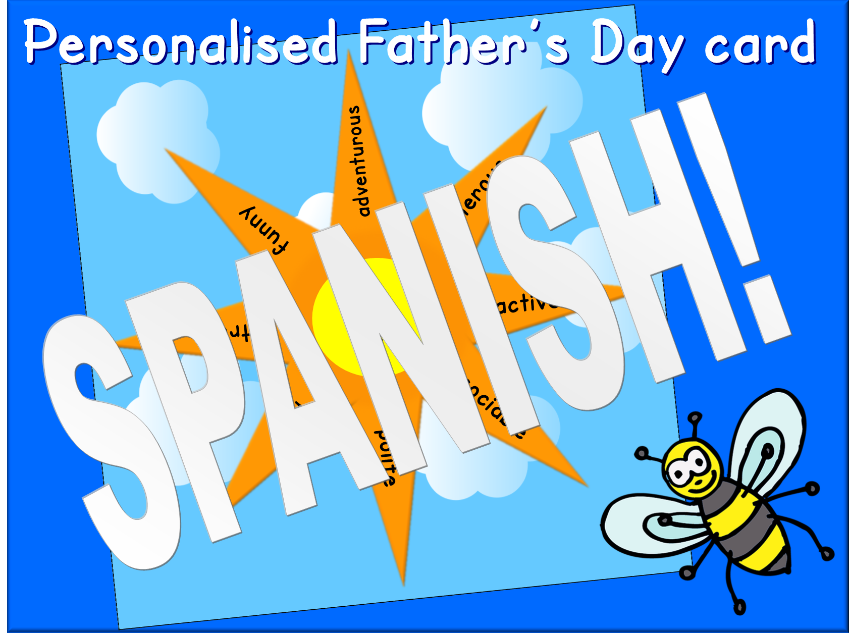 Spanish personalised Father's Day card - adjectives and dictionary skills activity