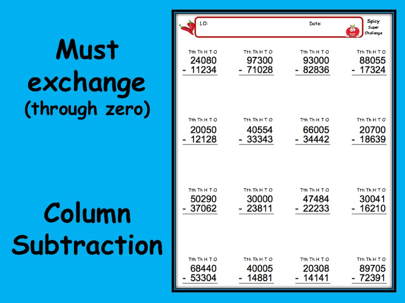 Subtraction worksheet with answers - 3 levels of differentiation KS2 Year 3 4 5 6 Exchange - zero