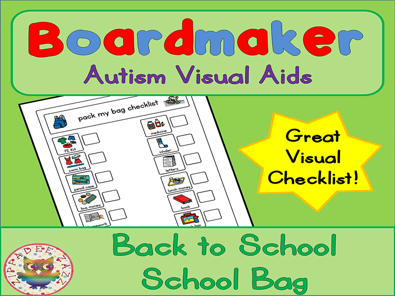 Back to School School Bag Checklist - Boardmaker Visual Aids for Autism PECS