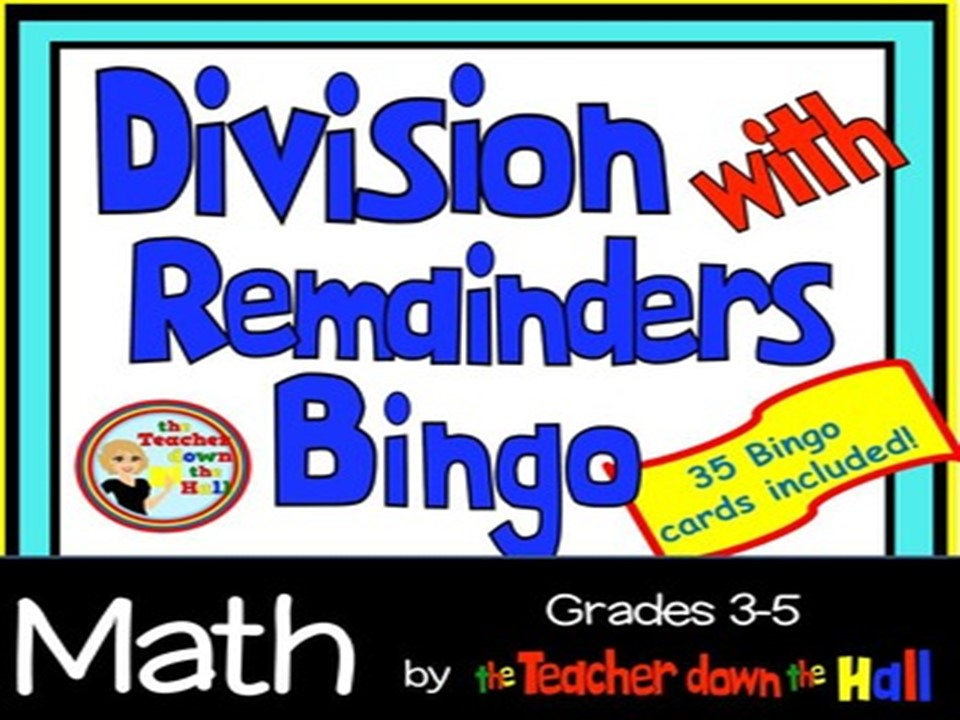 Division w/ Remainders Bingo w/ 35 Bingo Cards Grades 3-5