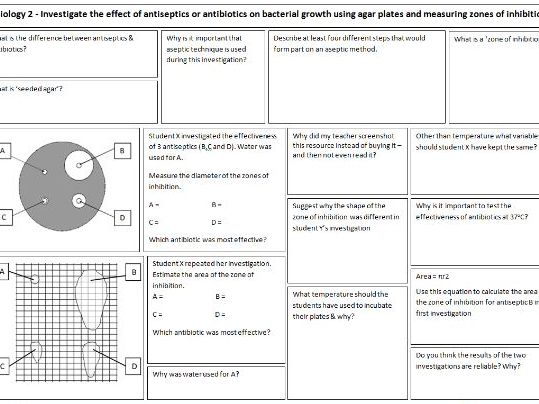 Required practical revision sheets for GCSE AQA Biology 2018 - Practicals 1-5
