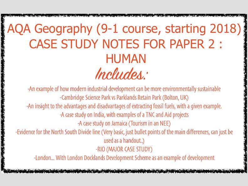 AQA GCSE Human Geography Case Studies