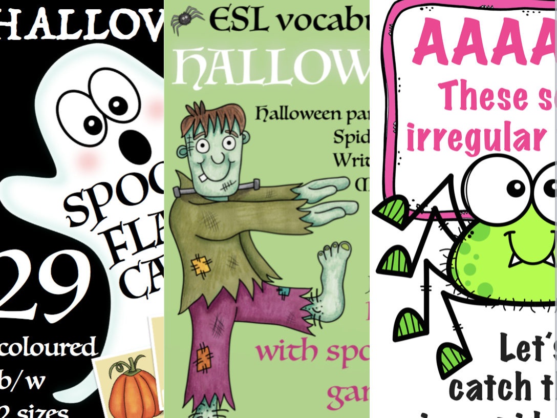 Huge ESL Halloween bundle! Flash cards, games, irregular verbs, save 20 %!