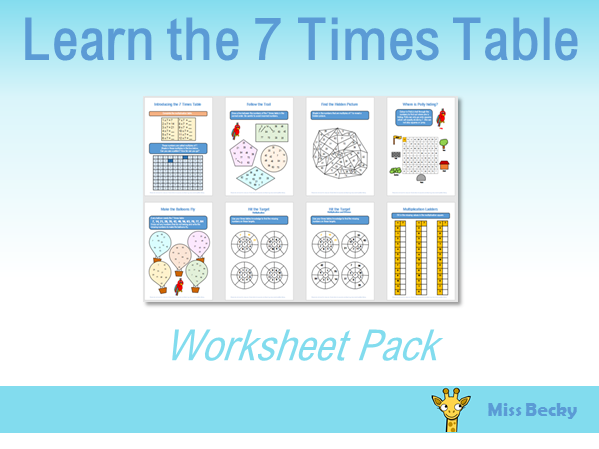 7 Times Table Worksheet Pack