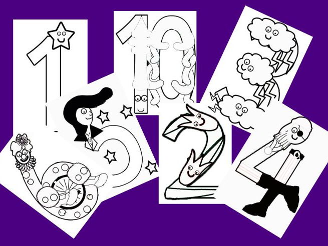 Numberland colouring sheets