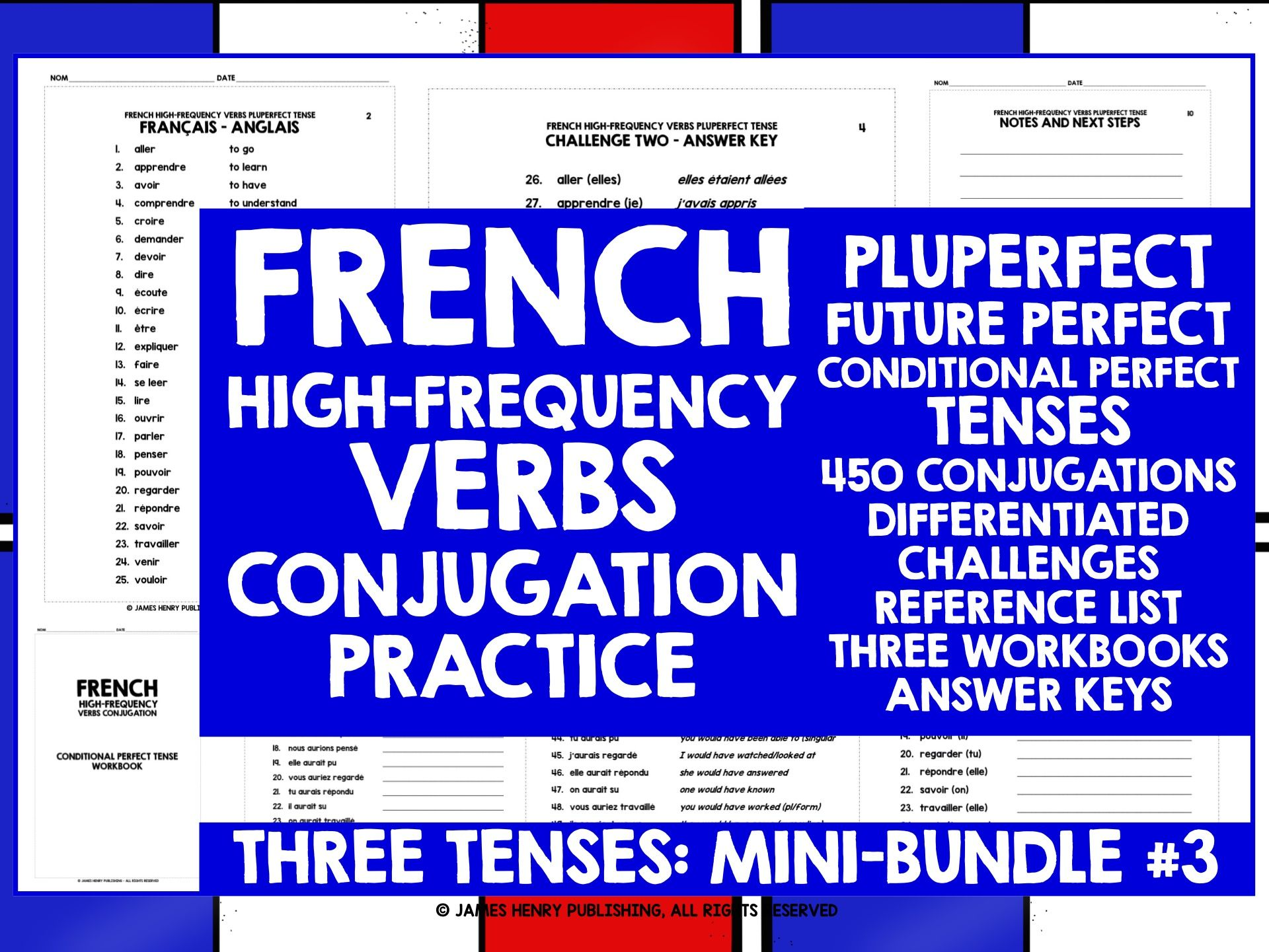 FRENCH HIGH-FREQUENCY VERBS CONJUGATION MINI-BUNDLE 3