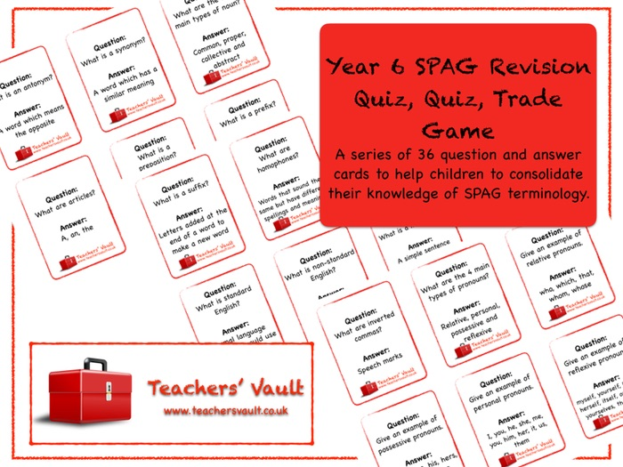 Y6 SPAG Revision Quiz Quiz Trade Card Game
