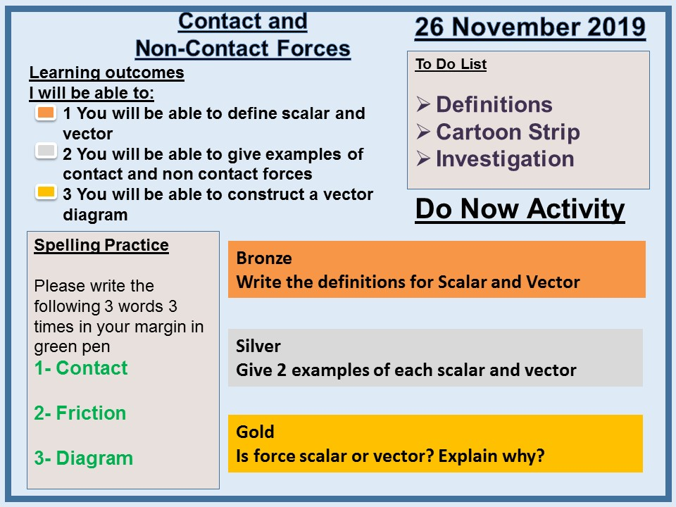 AQA P5 Forces L2 Contact and Non-Contact Forces