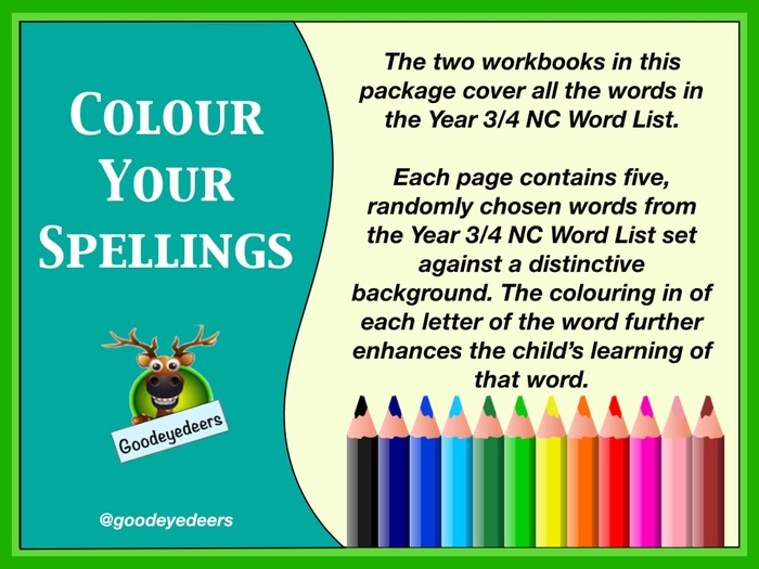 Colour Your Spellings - Year 3/4 Word List