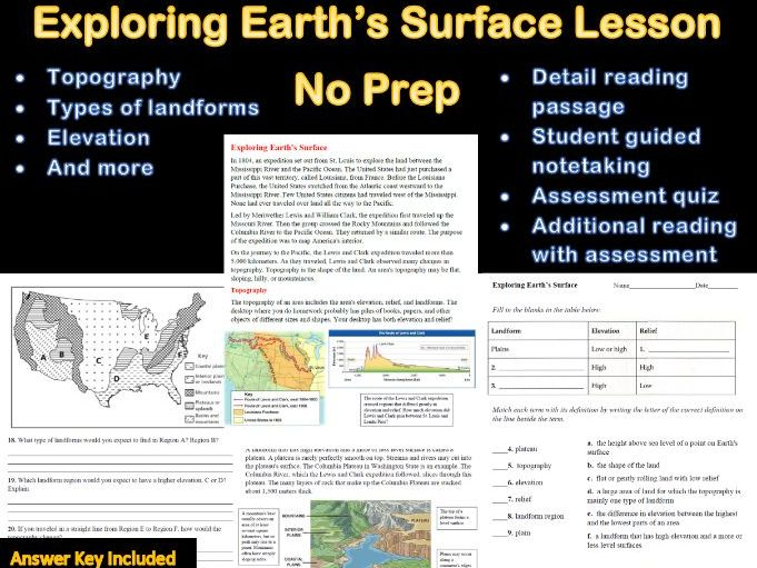 Exploring Earth's Surface Lesson No Prep With Answer Sheet (Distance Learning)
